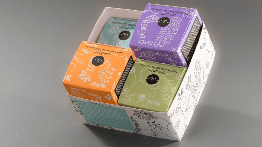 Fotolio erga ektyposeis syskevasia packaging oreanthi herbal tea collection
